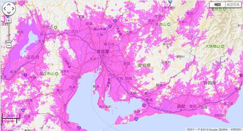 WiMAX通信エリア